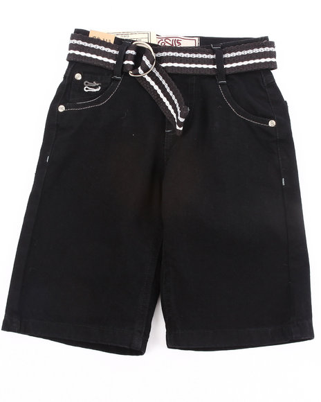Arcade Styles - Boys Black Belted Color Denim Shorts (4-7)