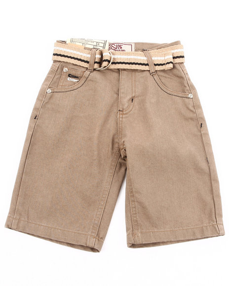 Arcade Styles - Boys Khaki Belted Color Denim Shorts (4-7)