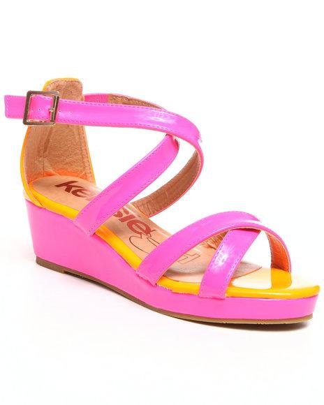 Kensie Girl Girls Pink Colorblock Wedge Sandal (13-5)