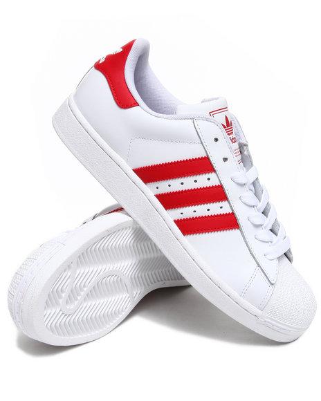 Adidas Men Crimson,White Superstar Ii Sneakers