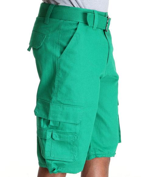 Mo7 - Men Green Twill Cargo Shorts