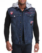 Vests - Patriot Games Hooded Denim Vest
