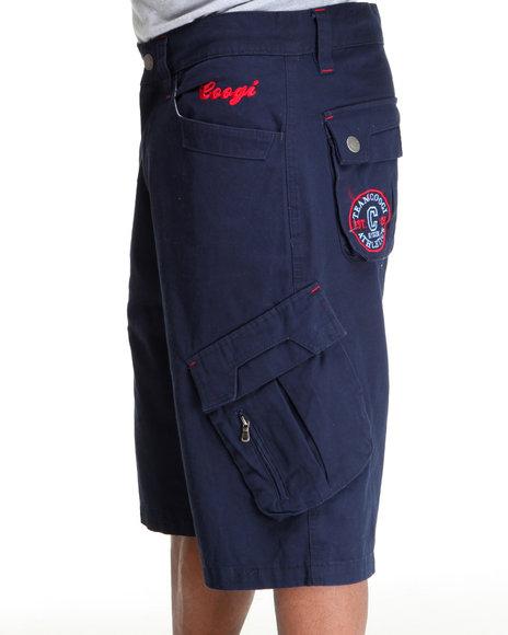 COOGI Men Navy Patriot Drawstring Cargo Shorts