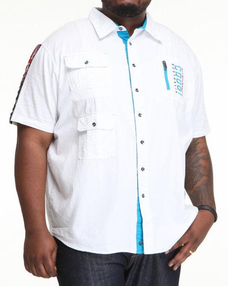 COOGI Men White Thrones Pocket Detail Button Down Shirt (B&T)