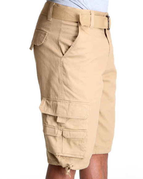Mo7 - Men Khaki Twill Cargo Shorts