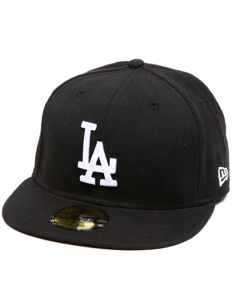 New Era Black Los Angeles Dodgers White Emb 5950 Fitted Cap