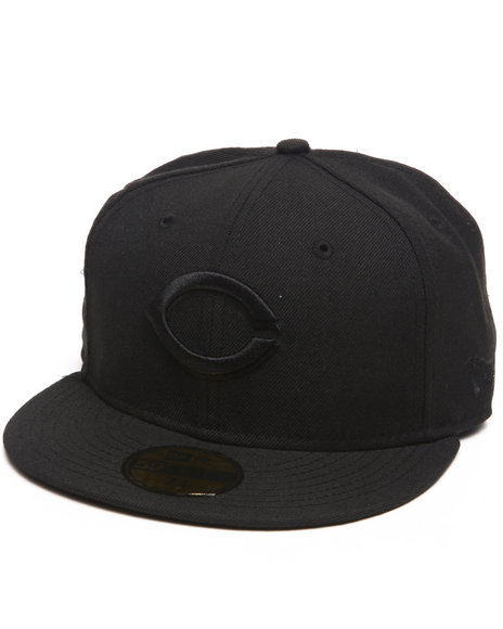 New Era Black Cincinnati Red All Black Everything 5950 Fitted Cap