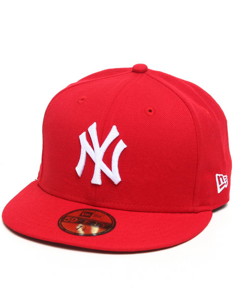 New Era - Men Red New York Yankees Red Basic 5950 Fitted Cap