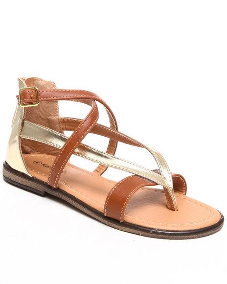 Kensie Girl Girls Gold,Tan Metallic Thong Sandal (11-4)