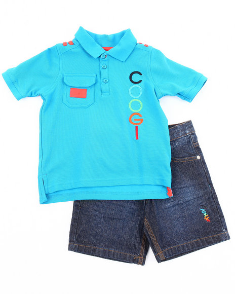 Coogi Boys Dark Wash,Teal 2 Pc Set - Logo Polo & Shorts (2T-4T)
