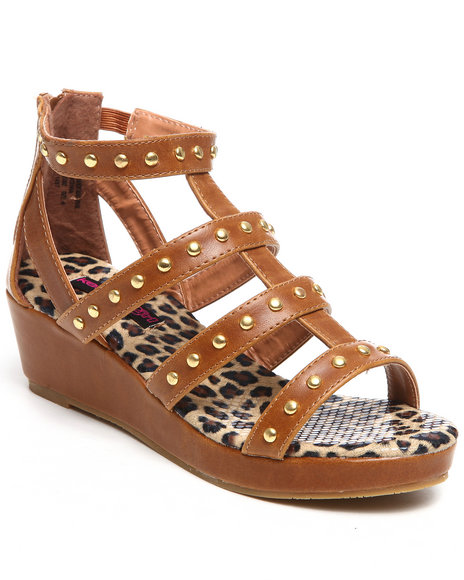 Kensie Girl Girls Tan Studded Gladiator Wedge Sandal (12-5)