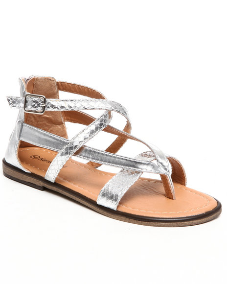 Kensie Girl Girls Silver Metallic Thong Sandal (11-4)