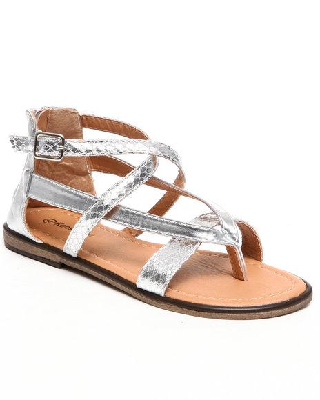 Kensie Girl Girls Silver Metallic Thong Sandal (11-4)