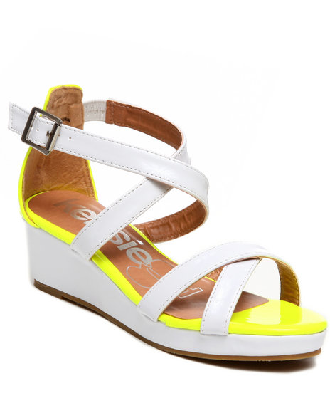 Kensie Girl Girls White Colorblock Wedge Sandal (13-5)