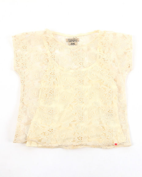 Lucky Brand Girls Cream Lace Crochect Top W/ Tank (7-16)