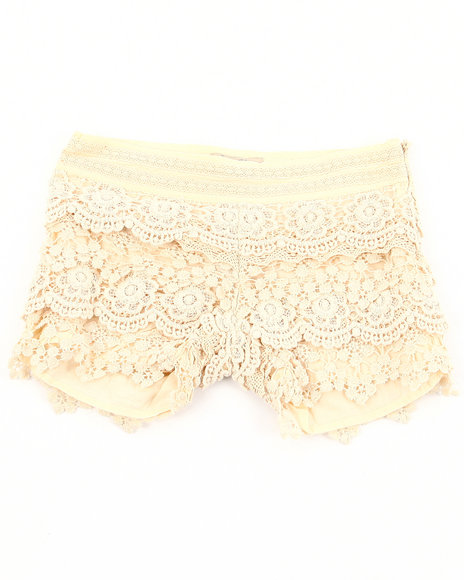 Lucky Brand Girls Cream Crochet Shorts (7-16)