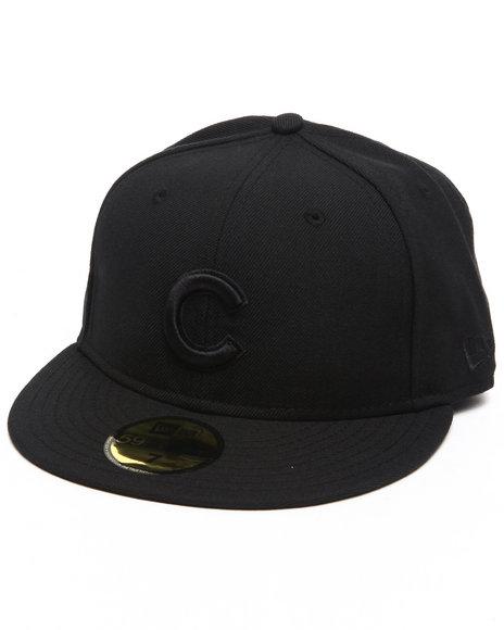 New Era - Men Black Chicago Cubs Mlb Black On Black 5950 Fitted Hat
