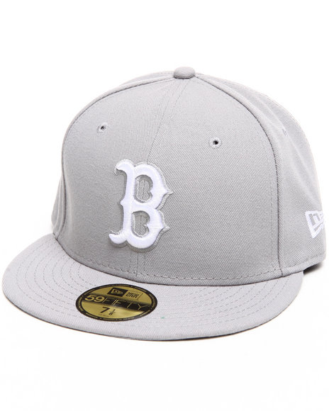 New Era - Men Grey Boston Red Sox Mlb League Basic 5950 Fitted Hat