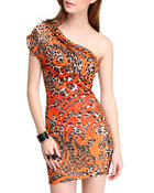 Women - Queen of the Jungle Animal Print Dress w/mesh