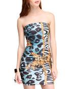 Fashion Lab Women Chain Gang Printed Dress Animal Print Large