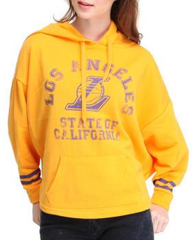 NBA MLB NFL Gear - Los Angeles Lakers Oversized 3/4 sleeve  Hoodie