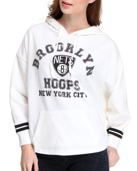 Nba Mlb Nfl Gear - Women Ivory Brooklyn Nets Oversized 3/4 Sleeve Hoodie