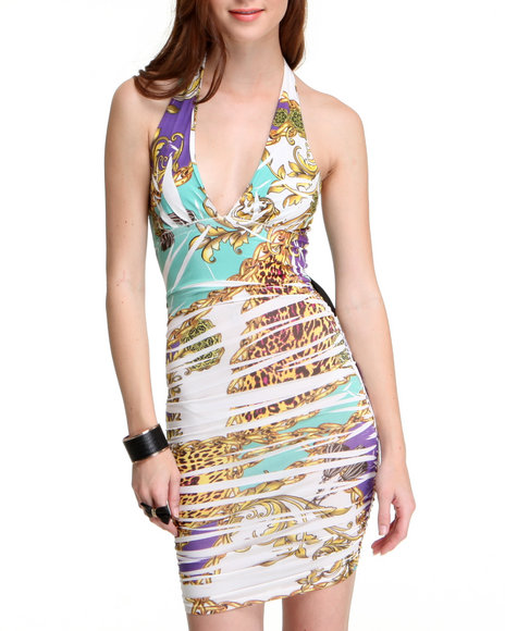 Fashion Lab Women Animal Print,Beige Lauren Tie Back Dress