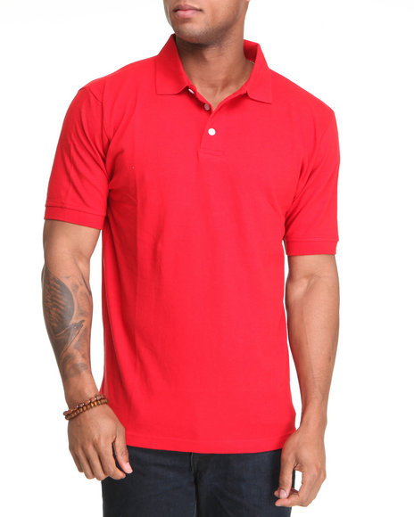 Basic Essentials Men Red Solid Polo