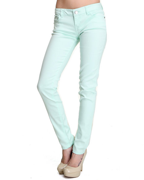 Celebrity Pink Women Green Basic Clean Skinny Jean Pant