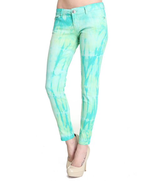 Celebrity Pink Women Green Tie Dye Skinny Jean Pants