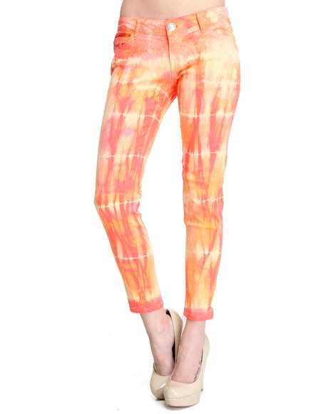 Celebrity Pink Women Dark Pink,Orange,Pink Tie Dye Skinny Jean Pants