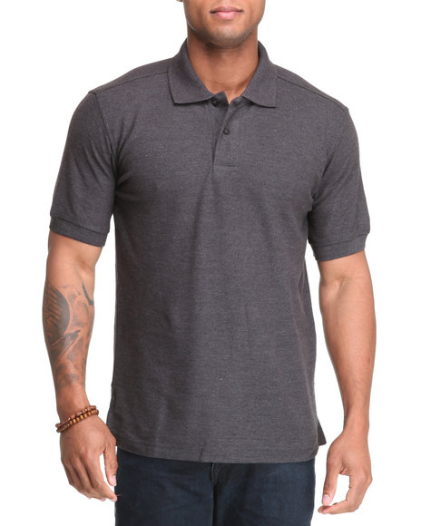 Buyers Picks Men Charcoal Classic Pique Polo