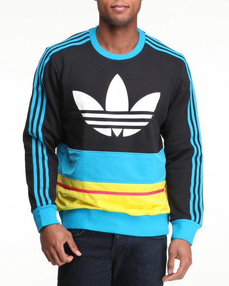 Adidas Men Black C90 Art Fleece Crewneck Sweatshirt