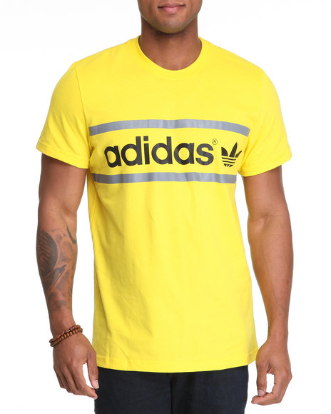 Adidas Men Yellow Heritage Logo Tee