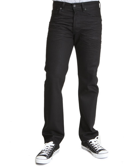Levi's Black 501 Shrink-To-Fit Straight Fit Polished Black Jeans