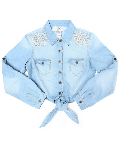 La Galleria Girls Light Wash Studded Tie Front Chambray (7-16)