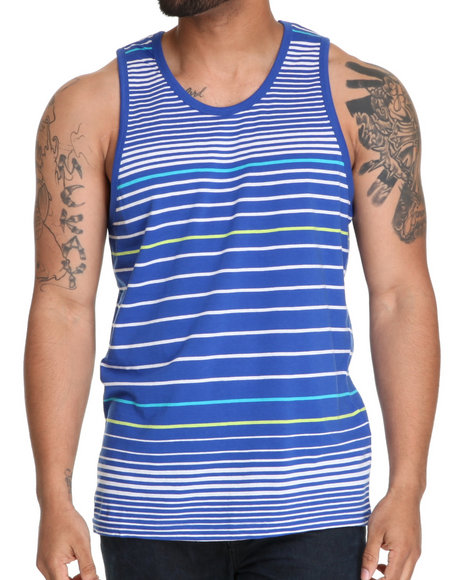 Buyers Picks Men Blue Engineered Neon Striped Tank Top