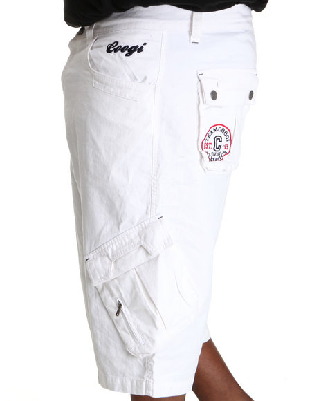COOGI Men White Patriot Drawstring Cargo Shorts (B & T)