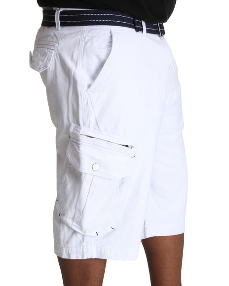 COOGI Men White Patriot Game Belted Cargo Shorts (B&T)
