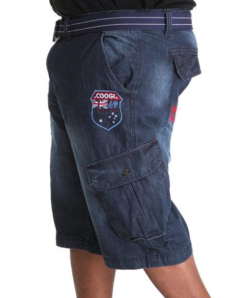 COOGI Men Blue Patriot Game Belted Cargo Shorts (B&T)