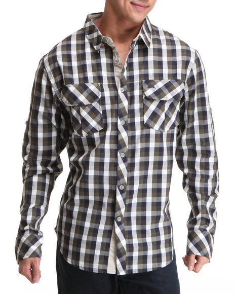 A Tiziano Men Forest Green Springsteen Long Sleeve Button-Down