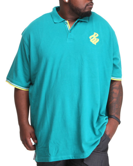 Rocawear Men Flame S/S Polo (B & T) Teal 3Xlb