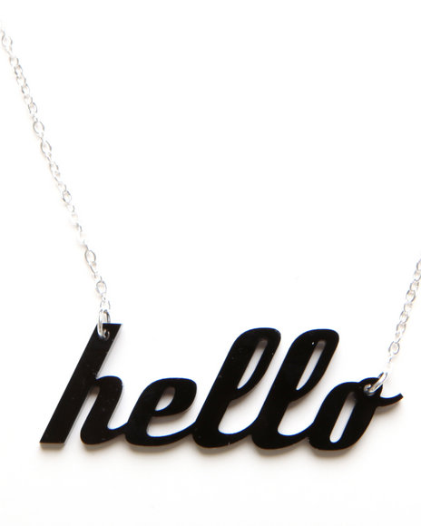Plastique Women Hello Necklace Black