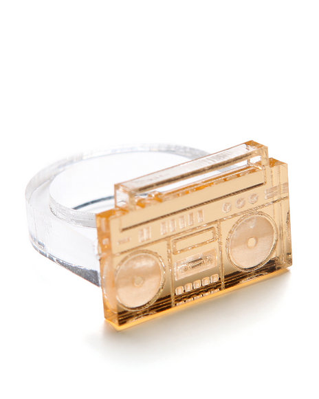 Plastique - Women Gold Boombox Ring