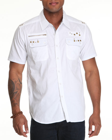 Basic Essentials Men White Military Woven Shirt