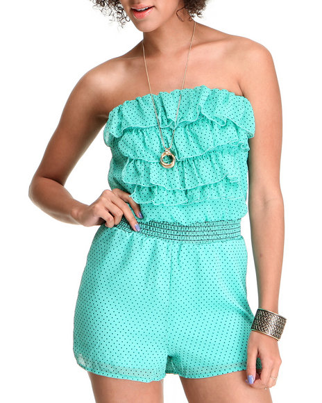 Fashion Lab Women Green Melinda Chiffon Ruffle Romper