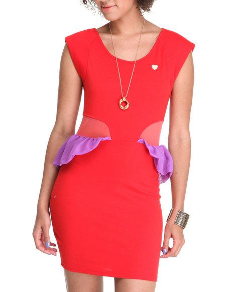 Apple Bottoms - Women Red Cap Sleeve Peplum Dress