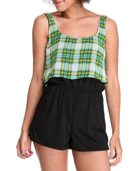 Fashion Lab - Women Black,Green The Jazzy Jess Chiffon Mix Romper