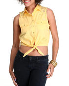 Polos & Button-Downs - Lace Inset Tie Front Woven Top