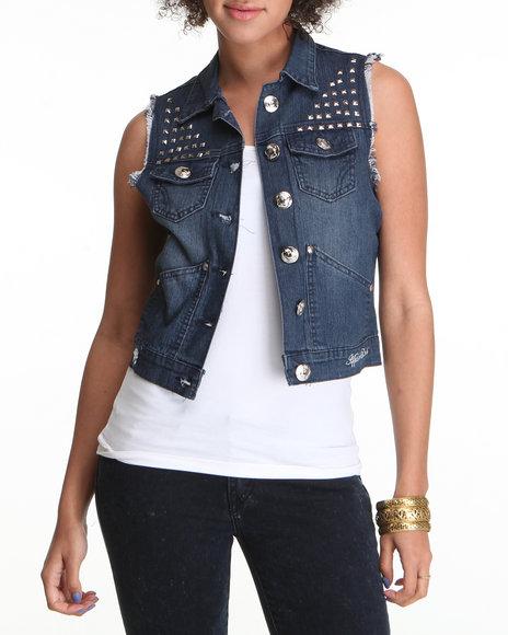 Apple Bottoms Women Dark Wash Studded Denim Fashion Vest